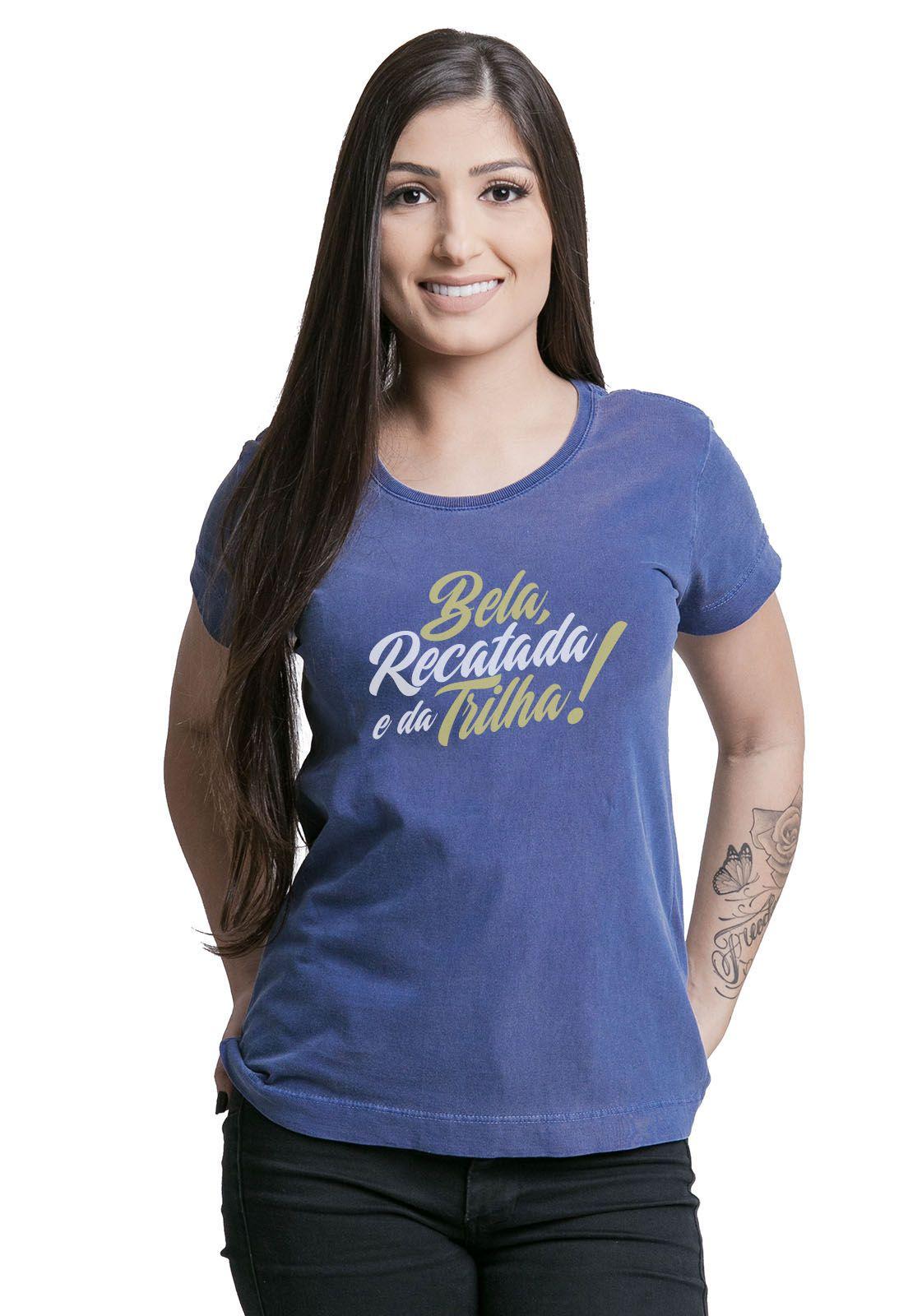 Camiseta Feminina Bela e da Trilha Estonada Azul Marinho