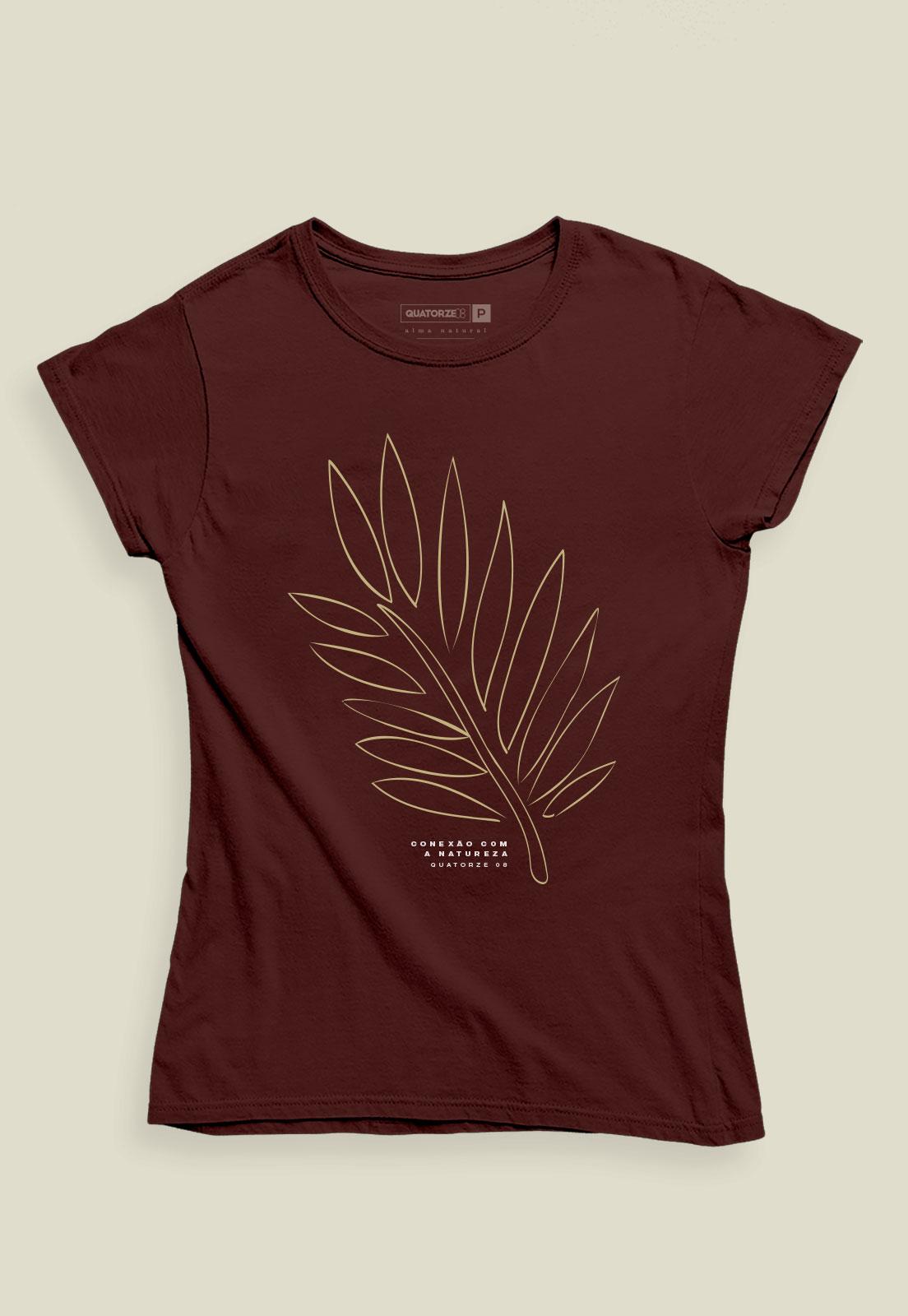 Camiseta Feminina Bordô de Algodão Conexão Com A Natureza