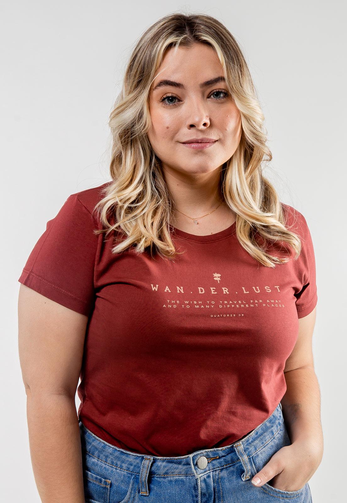 Camiseta Feminina Bordô de Algodão Wanderlust