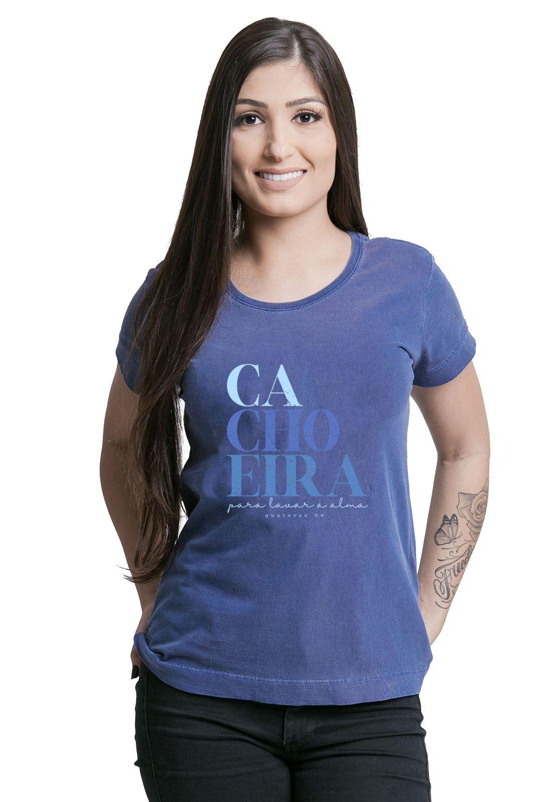 Camiseta Feminina Cachoeira Azul Médio
