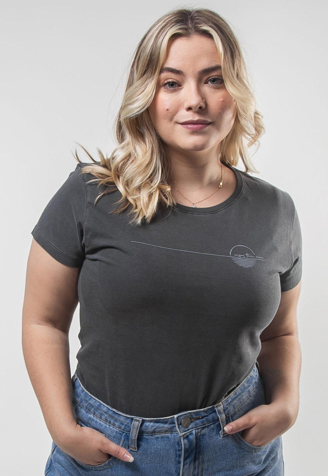 Camiseta Feminina Chumbo Estonada de Algodão Enjoy The View