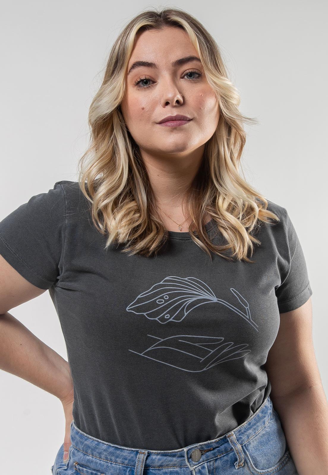 Camiseta Feminina Chumbo Estonada de Algodão Mão Natureza