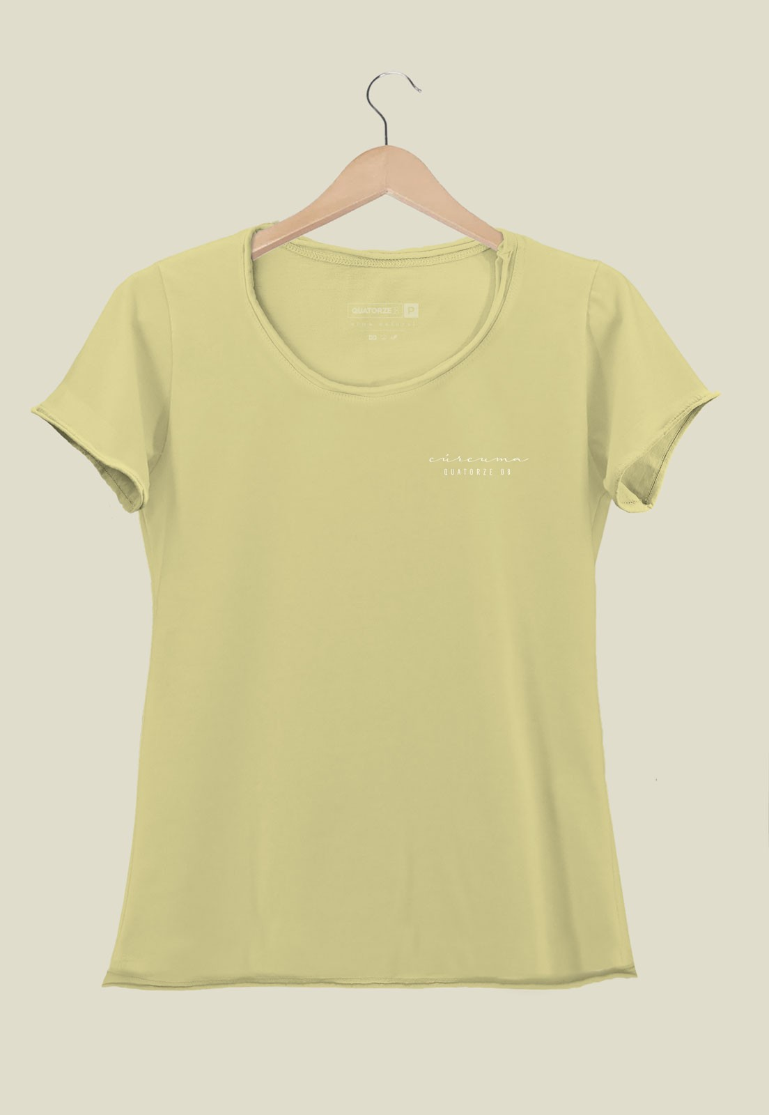 Camiseta Feminina Cúrcuma Tingimento Natural