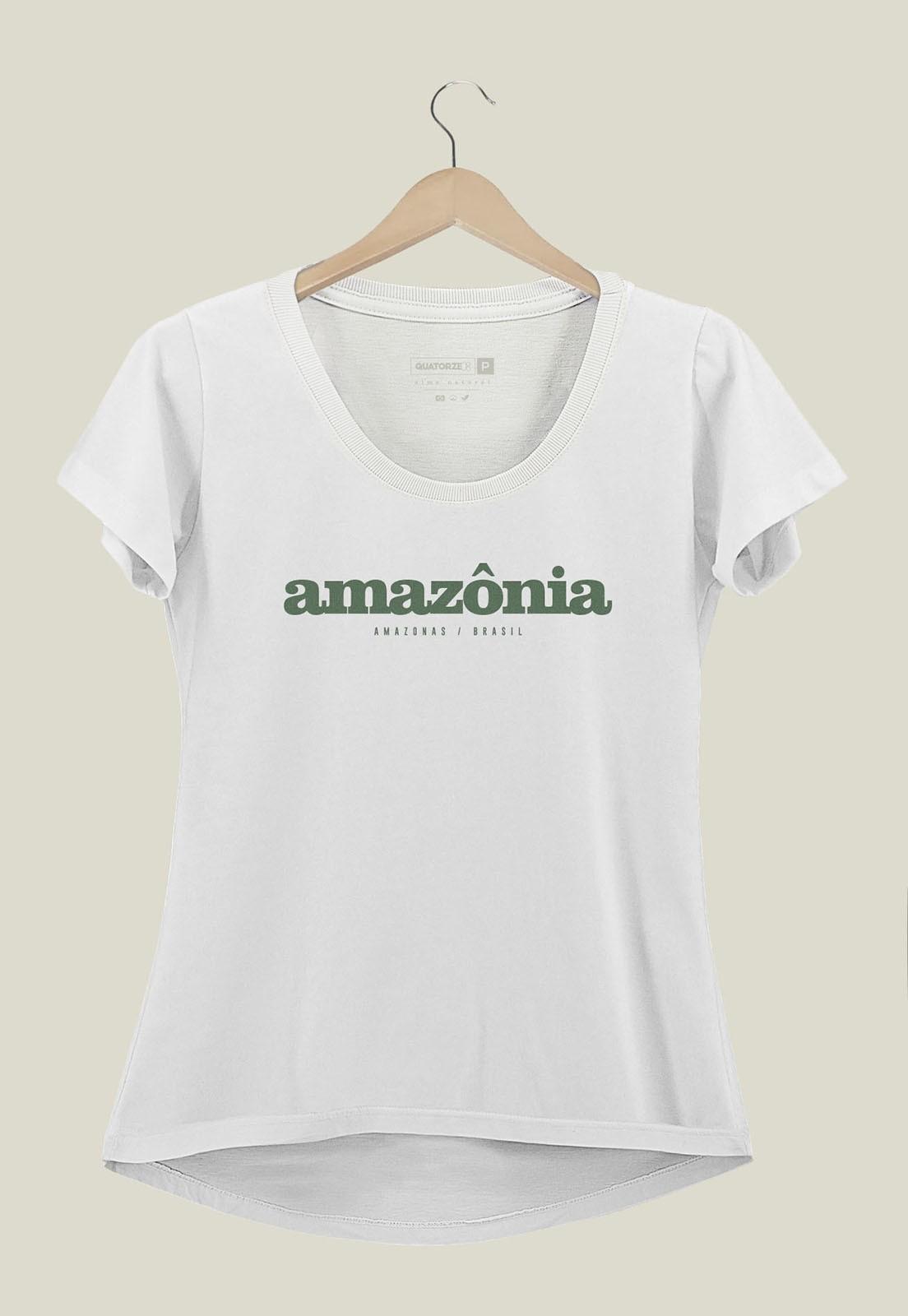 Camiseta Feminina Destinos Amazônia Branco