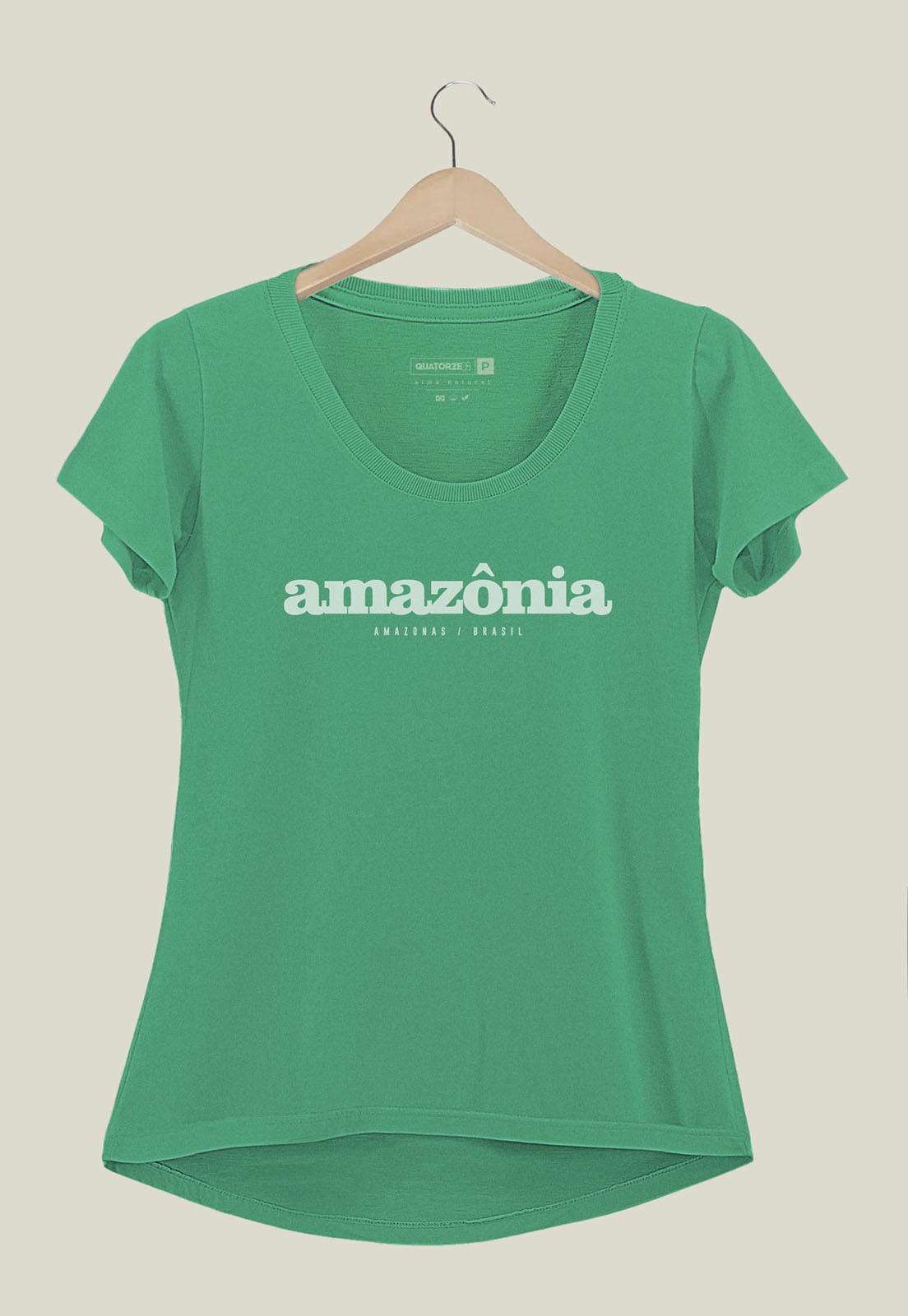 Camiseta Feminina Destinos Amazônia Verde Médio