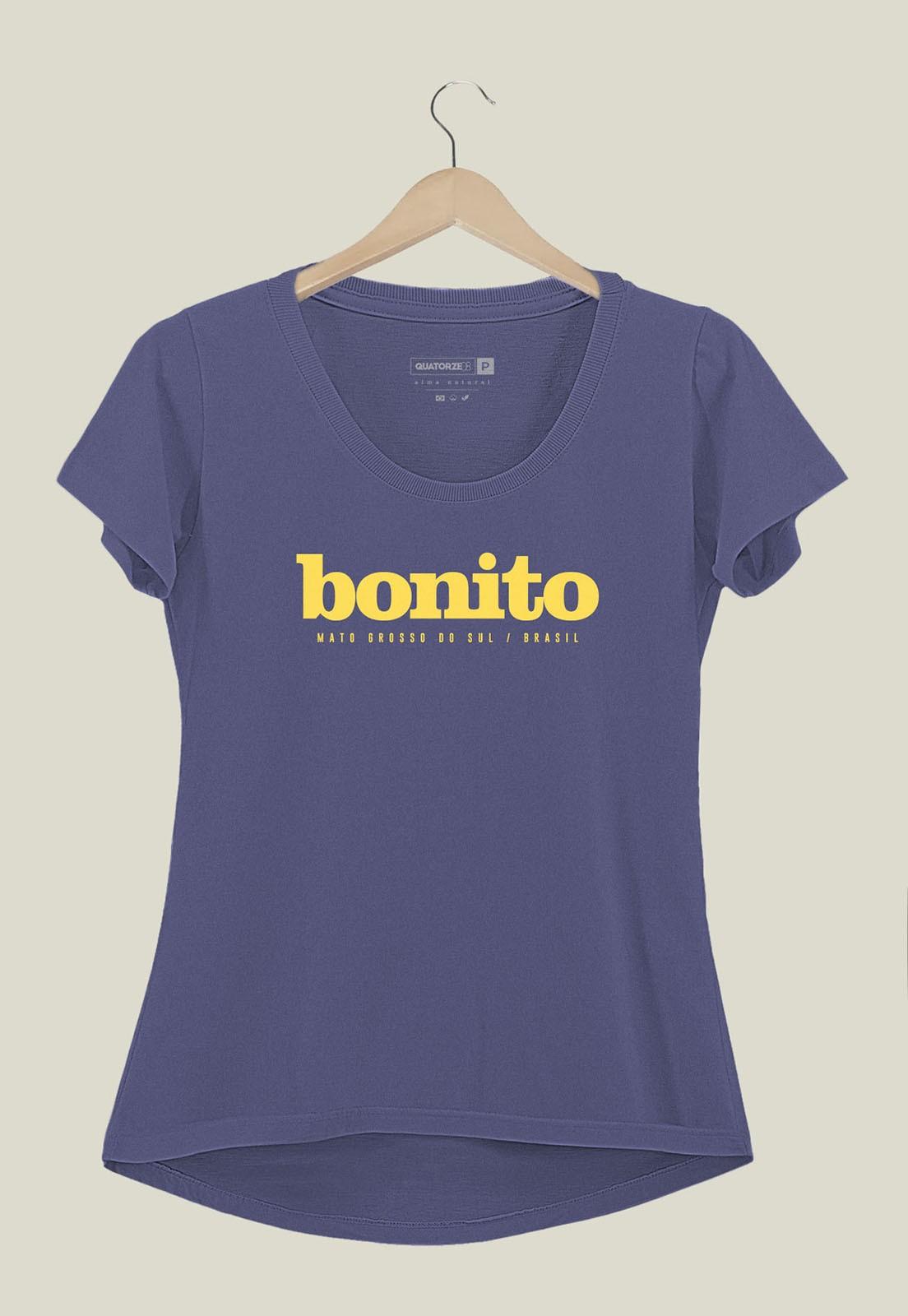 Camiseta Feminina Destinos Bonito Azul Médio