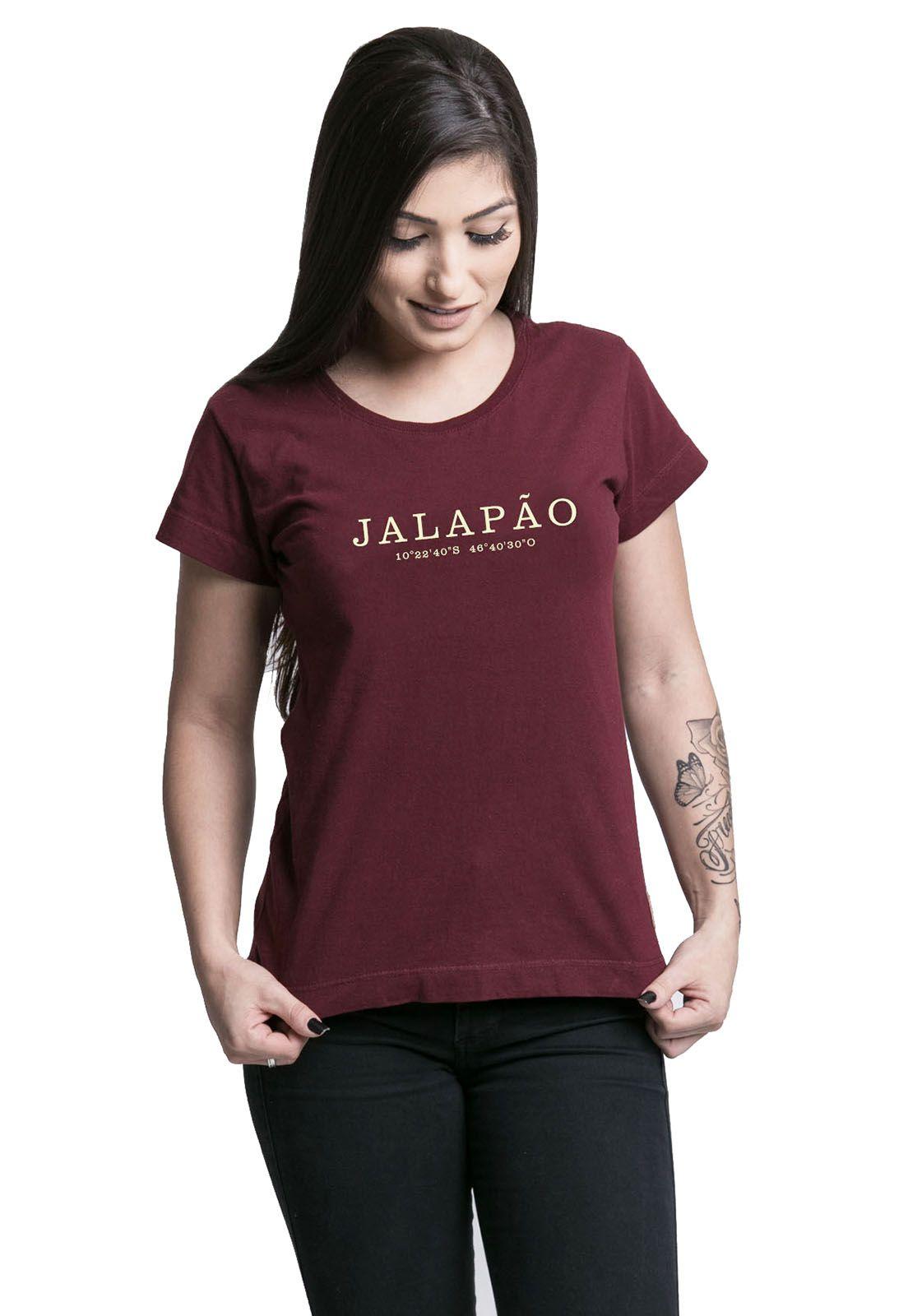 Camiseta Feminina Destinos Jalapão Bordô