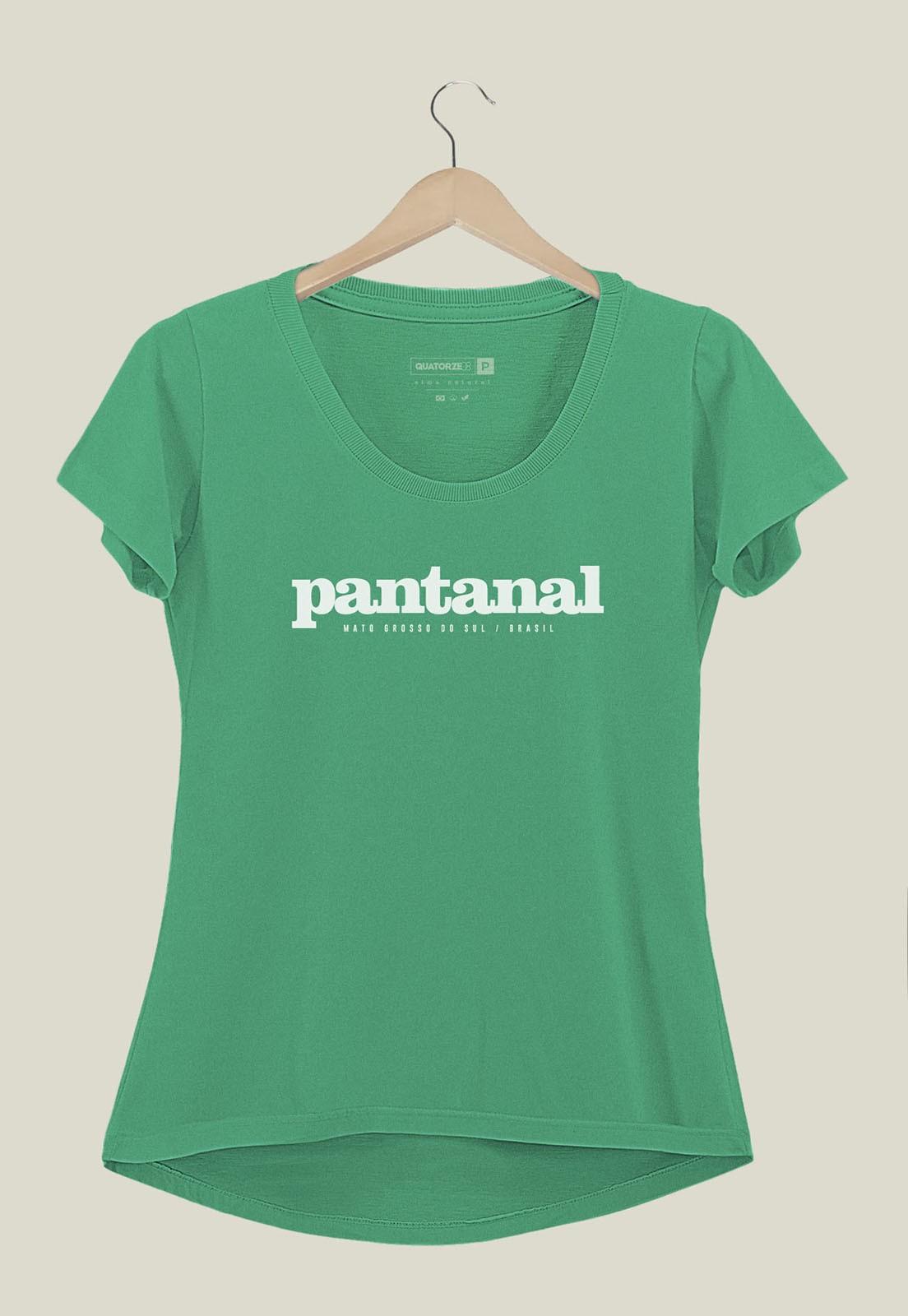 Camiseta Feminina Destinos Pantanal Verde Médio