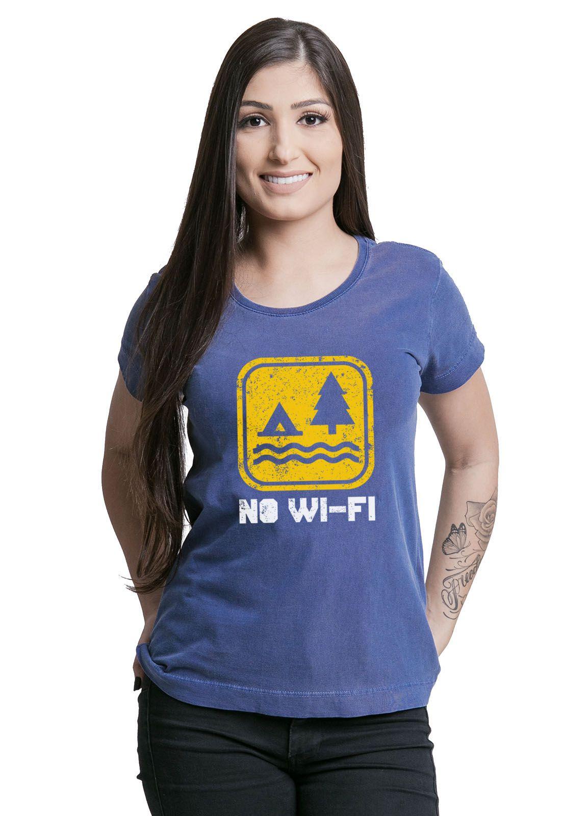 Camiseta Feminina No Wi-fi Azul