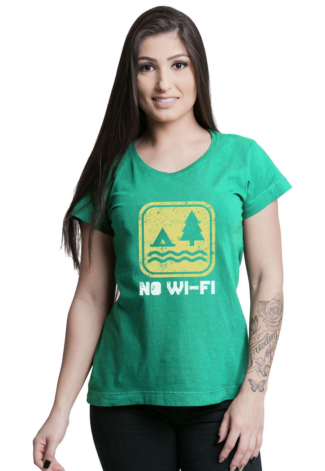 Camiseta Feminina No Wi-fi Verde Médio