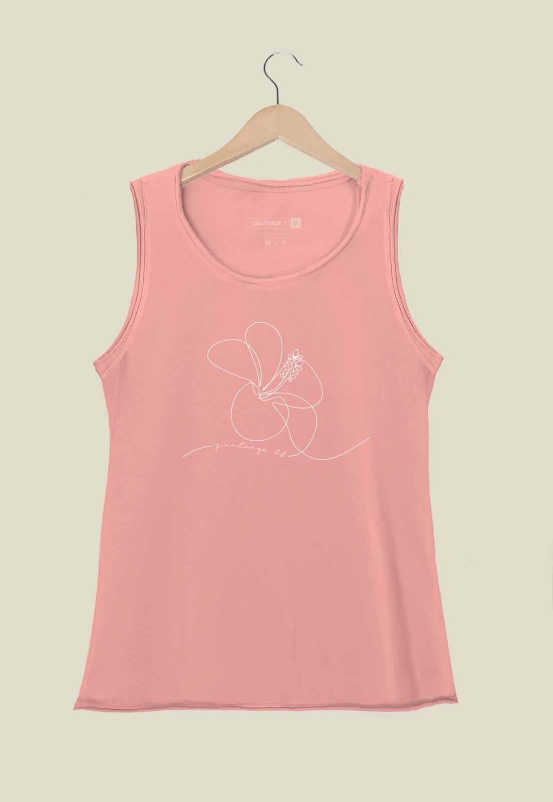 Camiseta Feminina Regata Hibisco Rosa Estonada