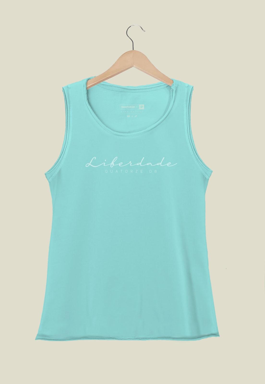 Camiseta Feminina Regata Liberdade Azul Claro Estonada