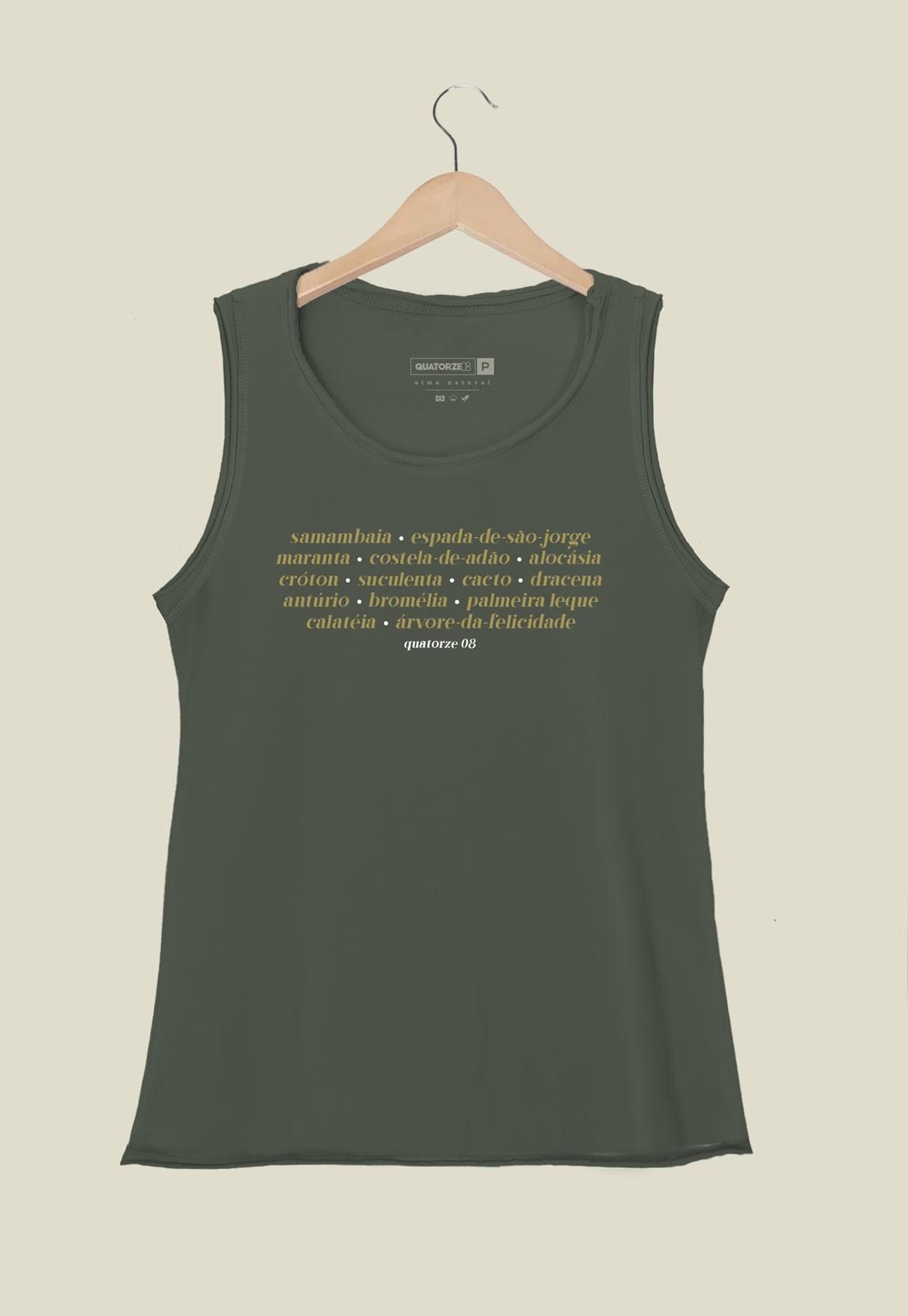 Camiseta Feminina Regata Plantas de Casa Verde Escuro Estonada