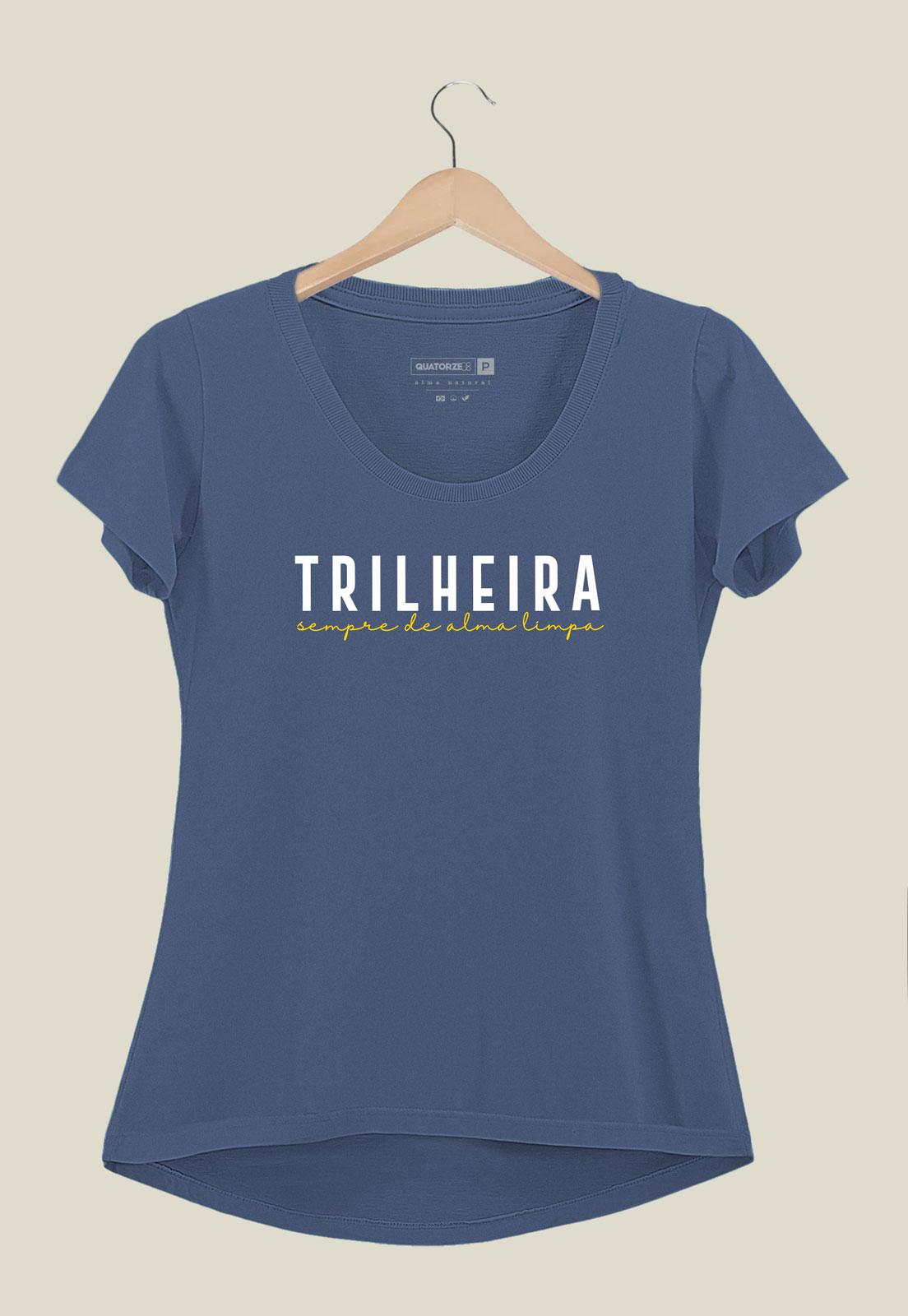 Camiseta Feminina Trilheira Azul Médio Estonada