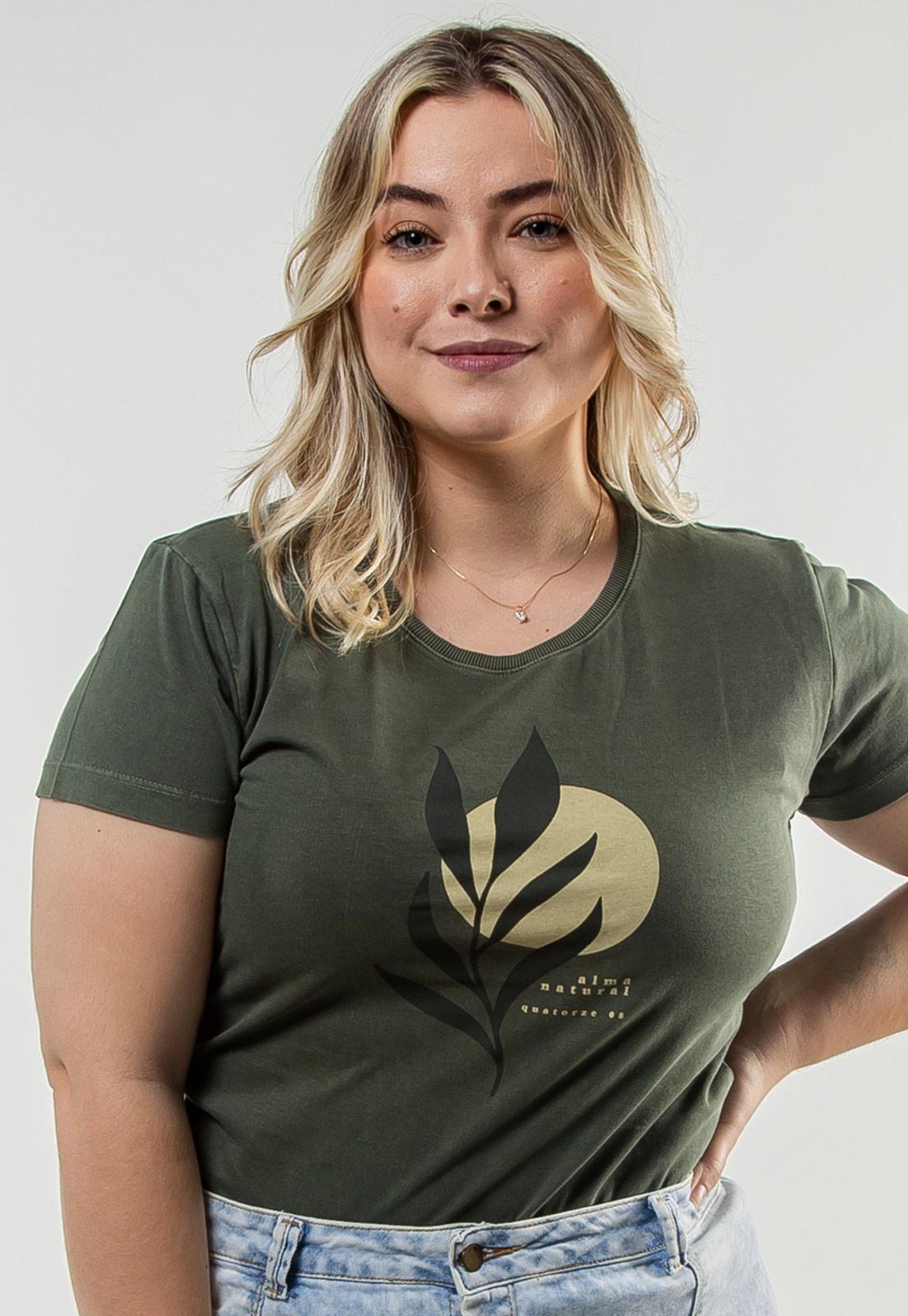 Camiseta Feminina Verde Escuro Estonada de Algodão Ramo Sol