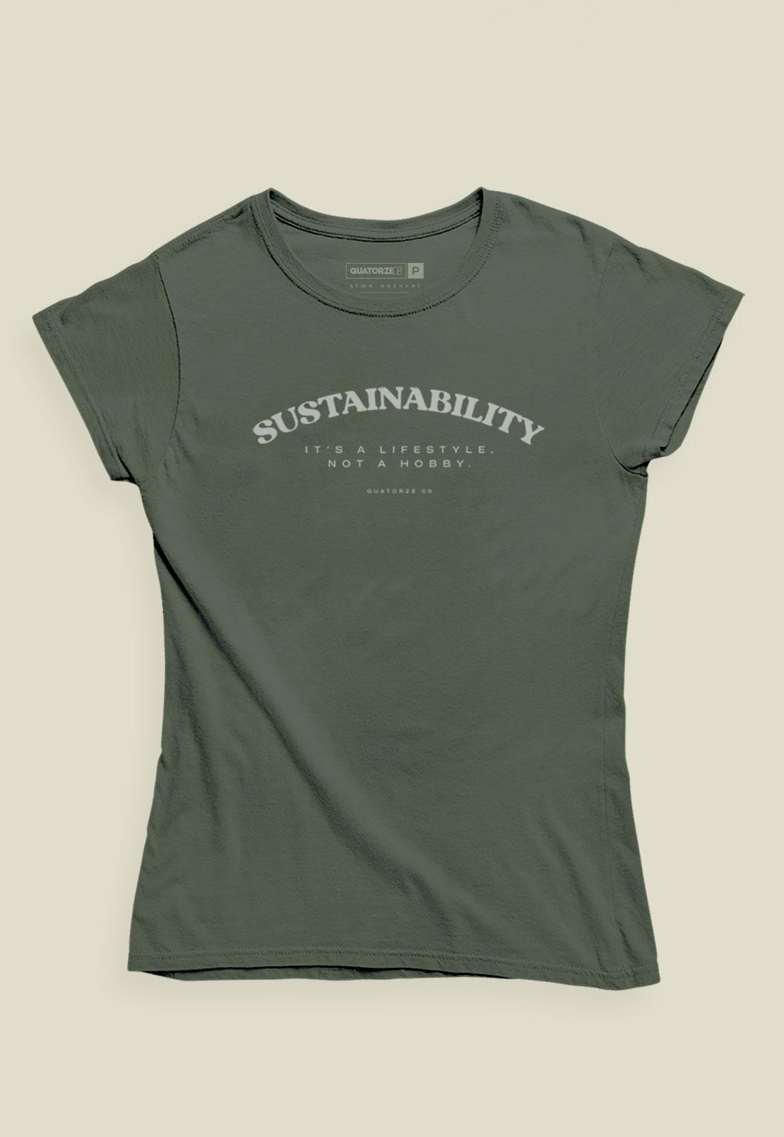 Camiseta Feminina Verde Escuro Estonada de Algodão Sustainability