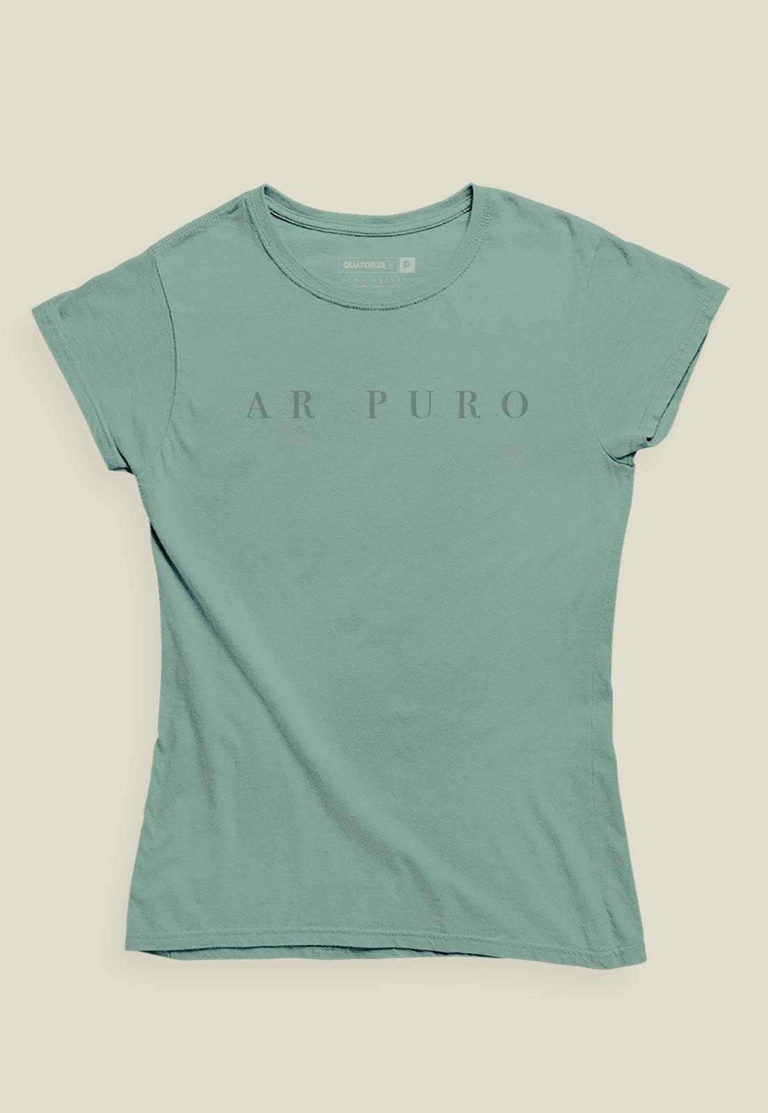 Camiseta Feminina Verde Médio Estonada de Algodão Ar Puro