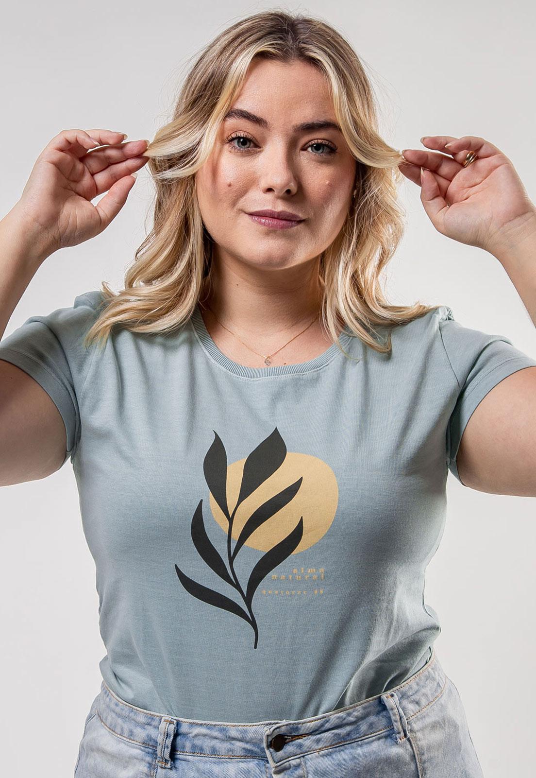 Camiseta Feminina Verde Médio Estonada de Algodão Ramo Sol