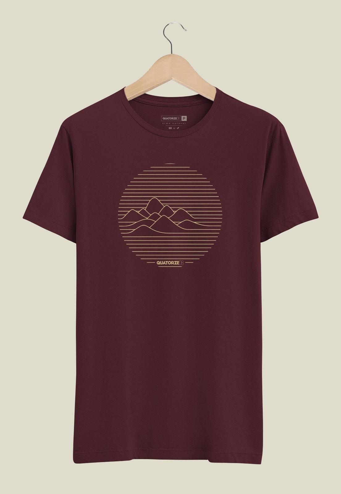 Camiseta Linhas de Montanha Bordô