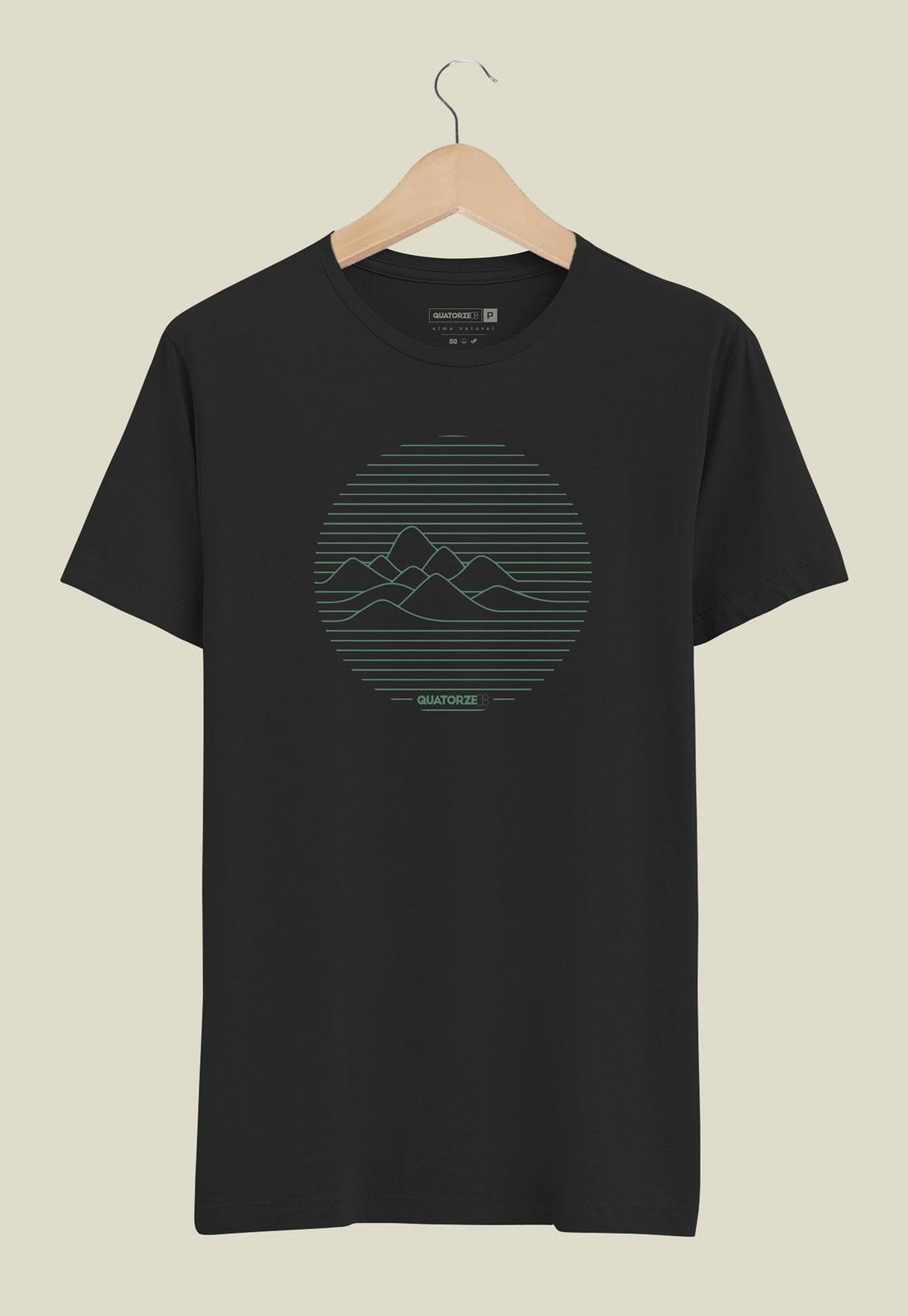 Camiseta Linhas de Montanha Preta