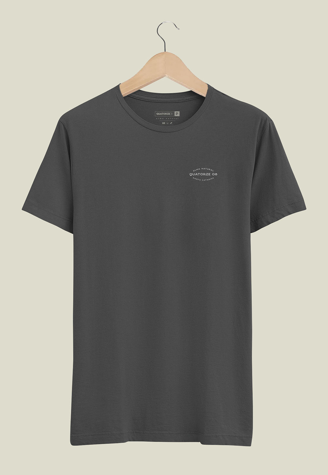 Camiseta Masculina Chumbo Estonada de Algodão Alma Natural