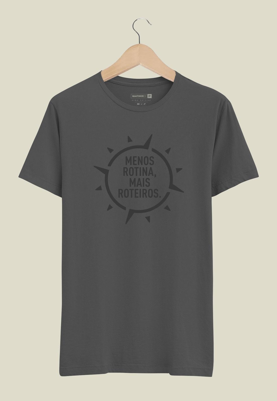 Camiseta Menos Rotina Chumbo Estonado