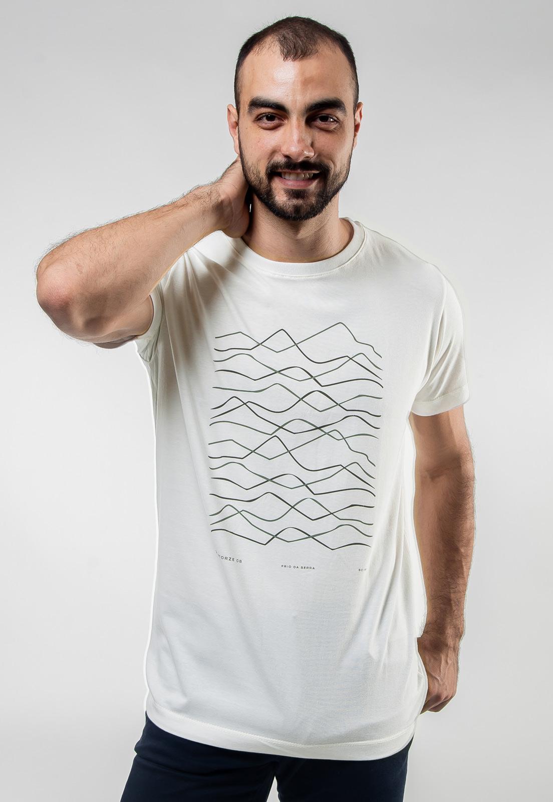 Camiseta Off-White de Algodão Relevos