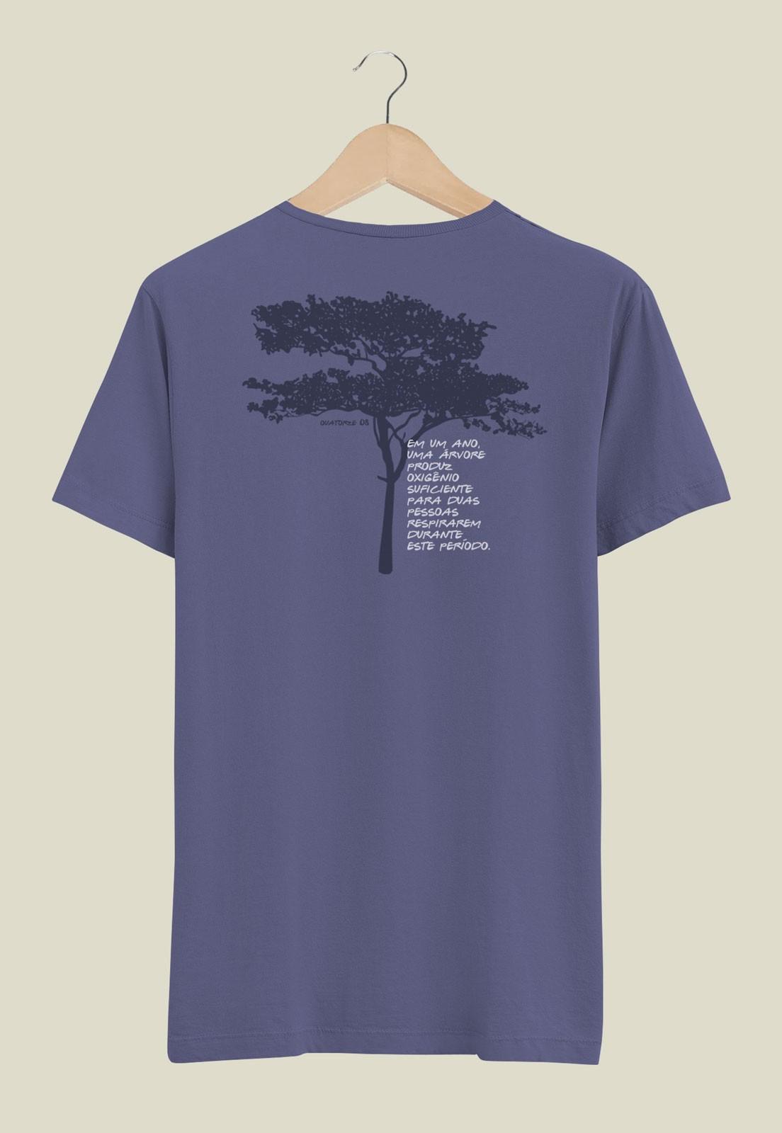 Camiseta Oxigênio da Árvore Azul Médio
