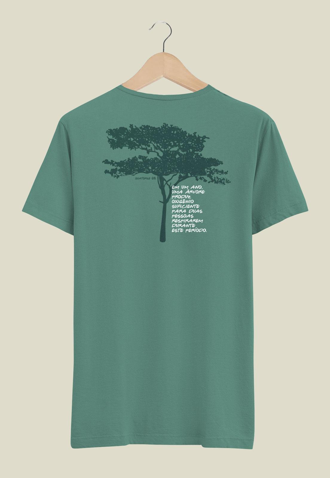 Camiseta Oxigênio da Árvore Verde Estonada