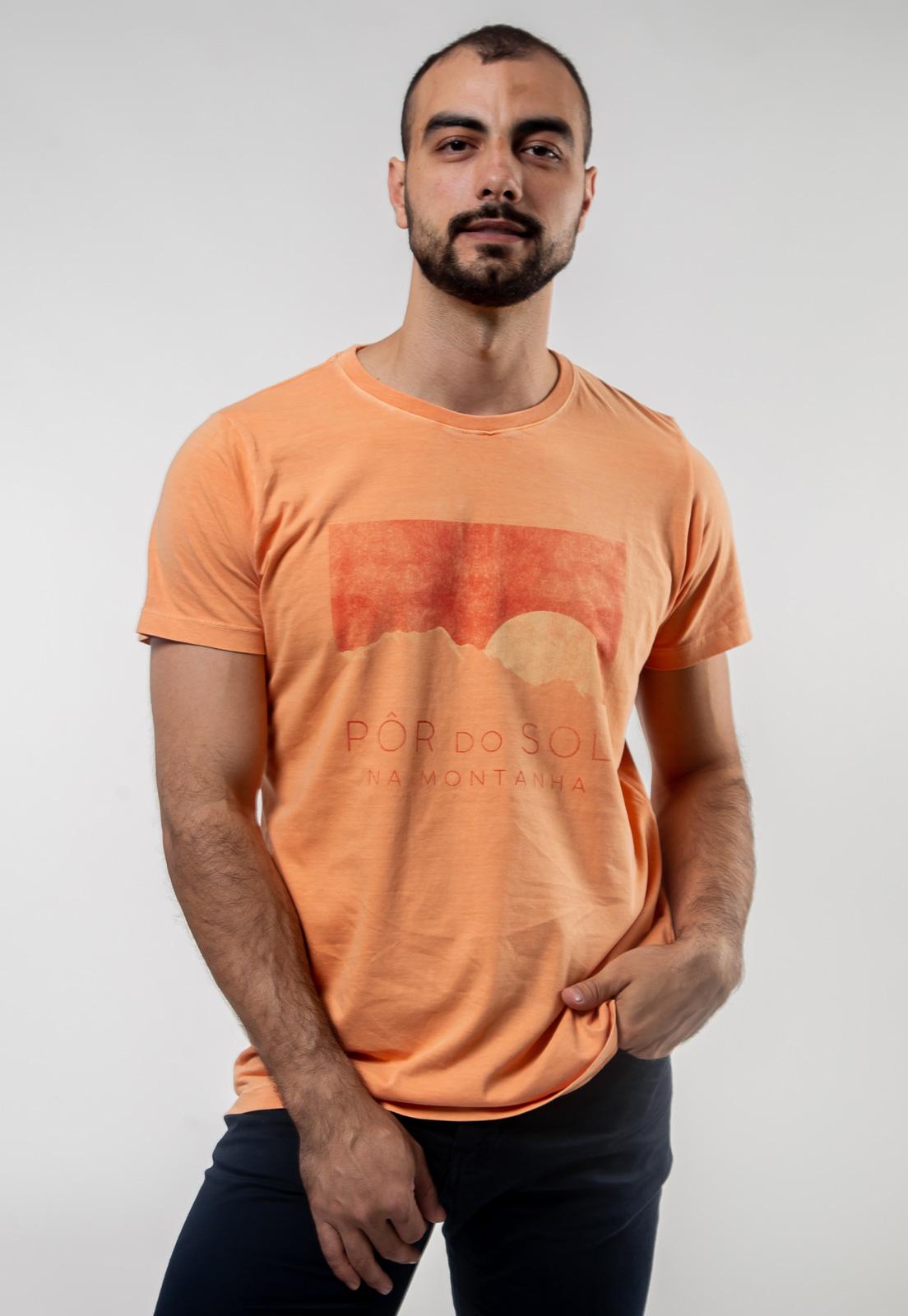 Camiseta Pôr do Sol Laranja Estonado