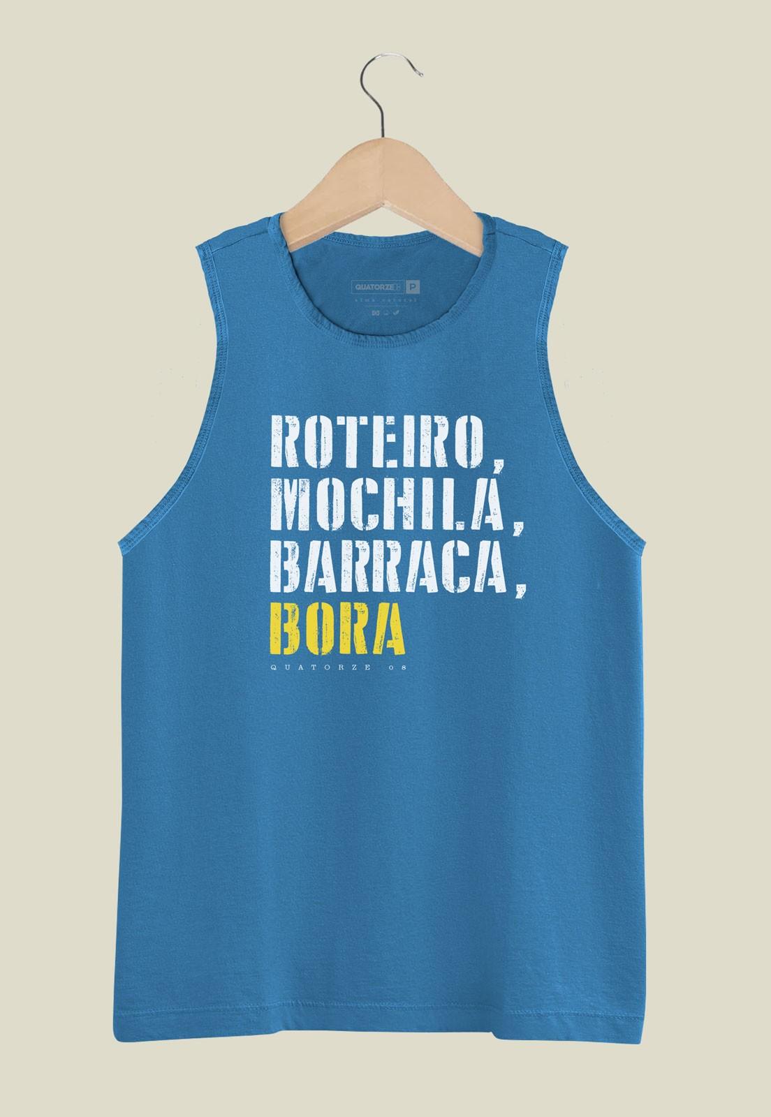 Camiseta Regata Barraca e Bora Azul Médio