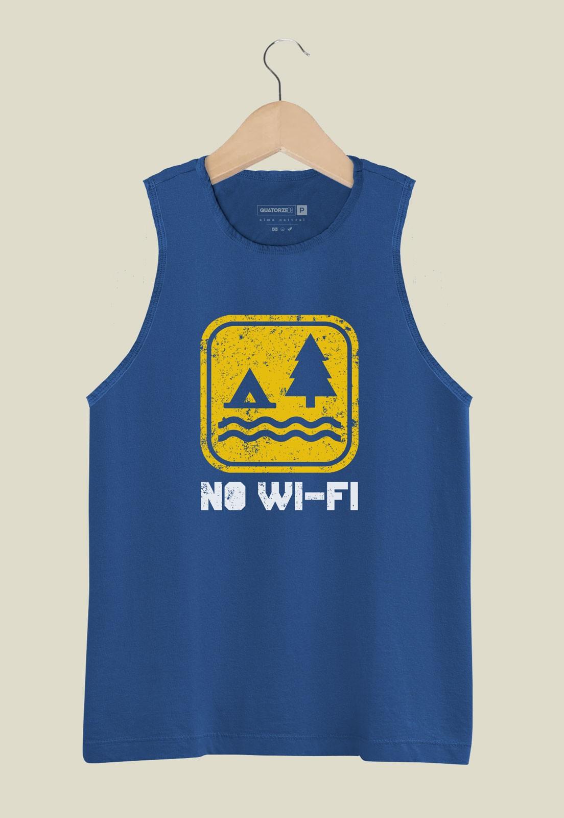 Camiseta Regata No Wi-fi Azul Médio