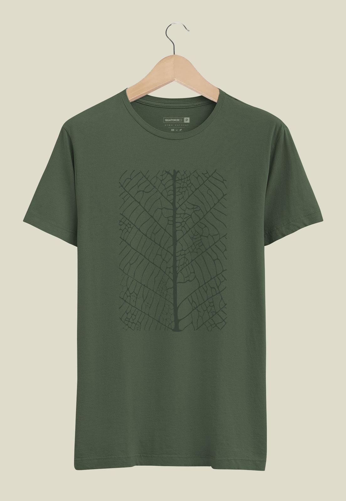 Camiseta Verde Escuro Estonada de Algodão Folha