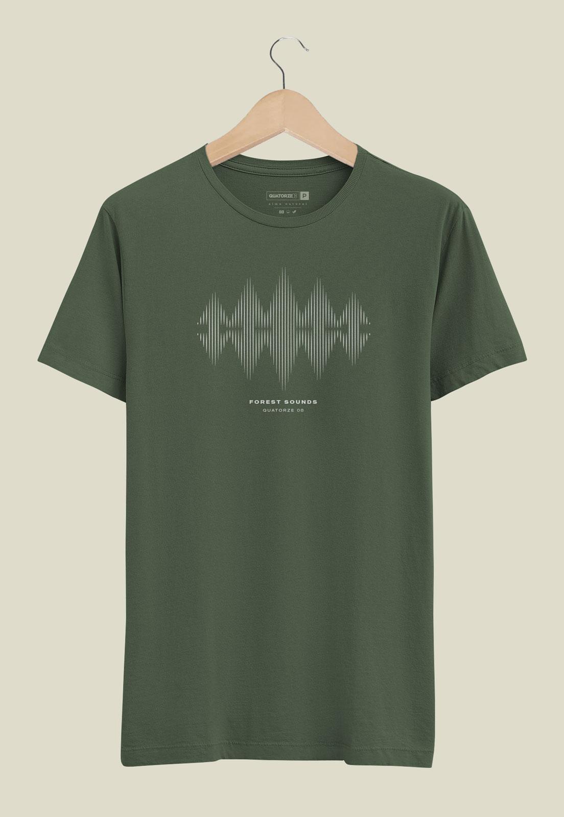 Camiseta Verde Escuro Estonada de Algodão Forest Sound