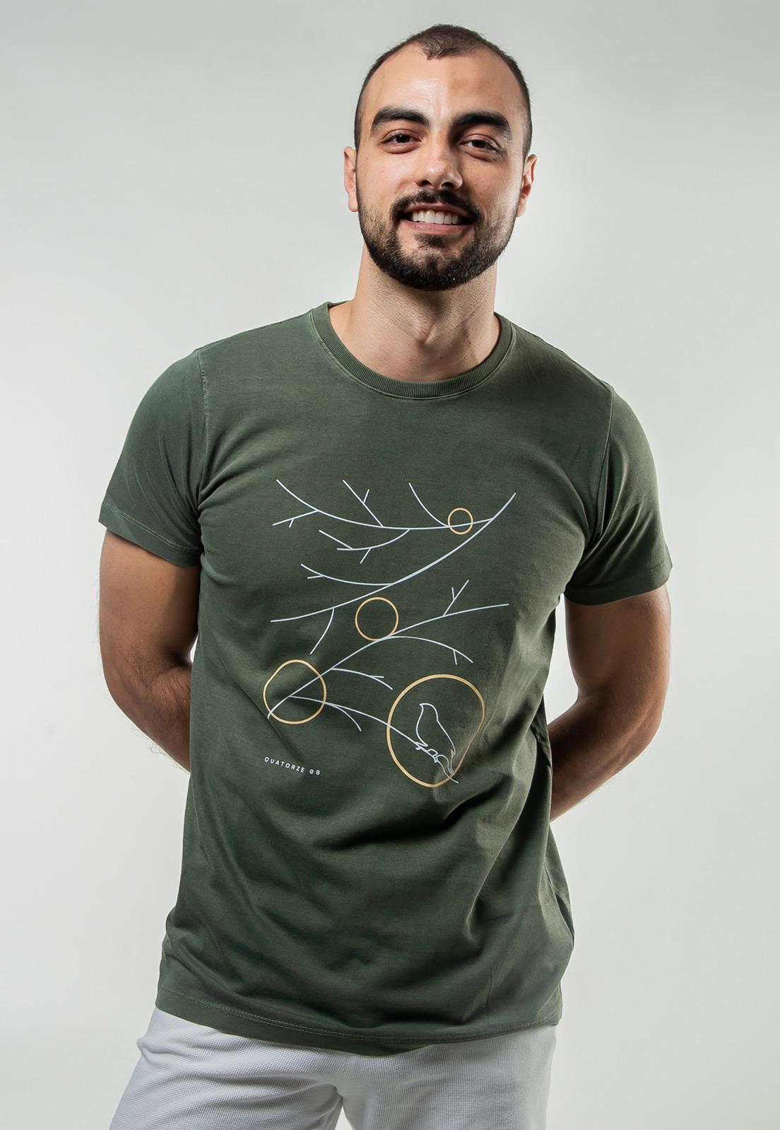 Camiseta Verde Escuro Estonada de Algodão Galhos Secos