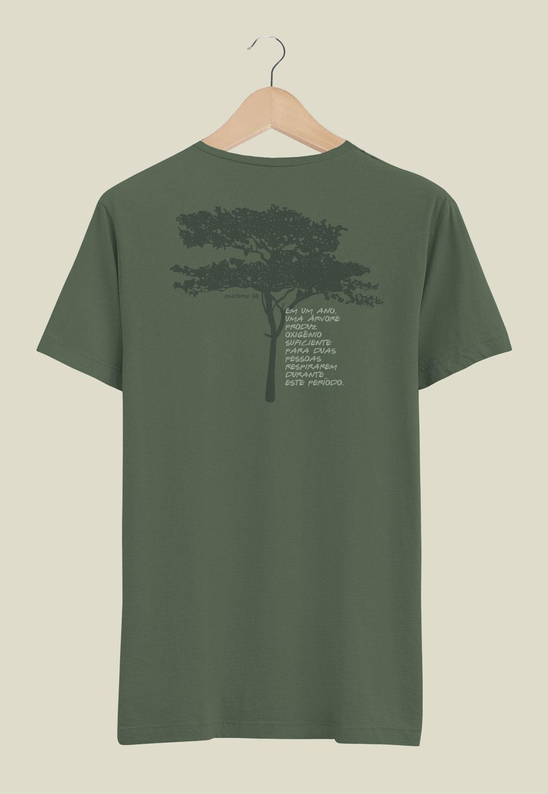 Camiseta Verde Escuro Estonada de Algodão Oxigênio da Árvore