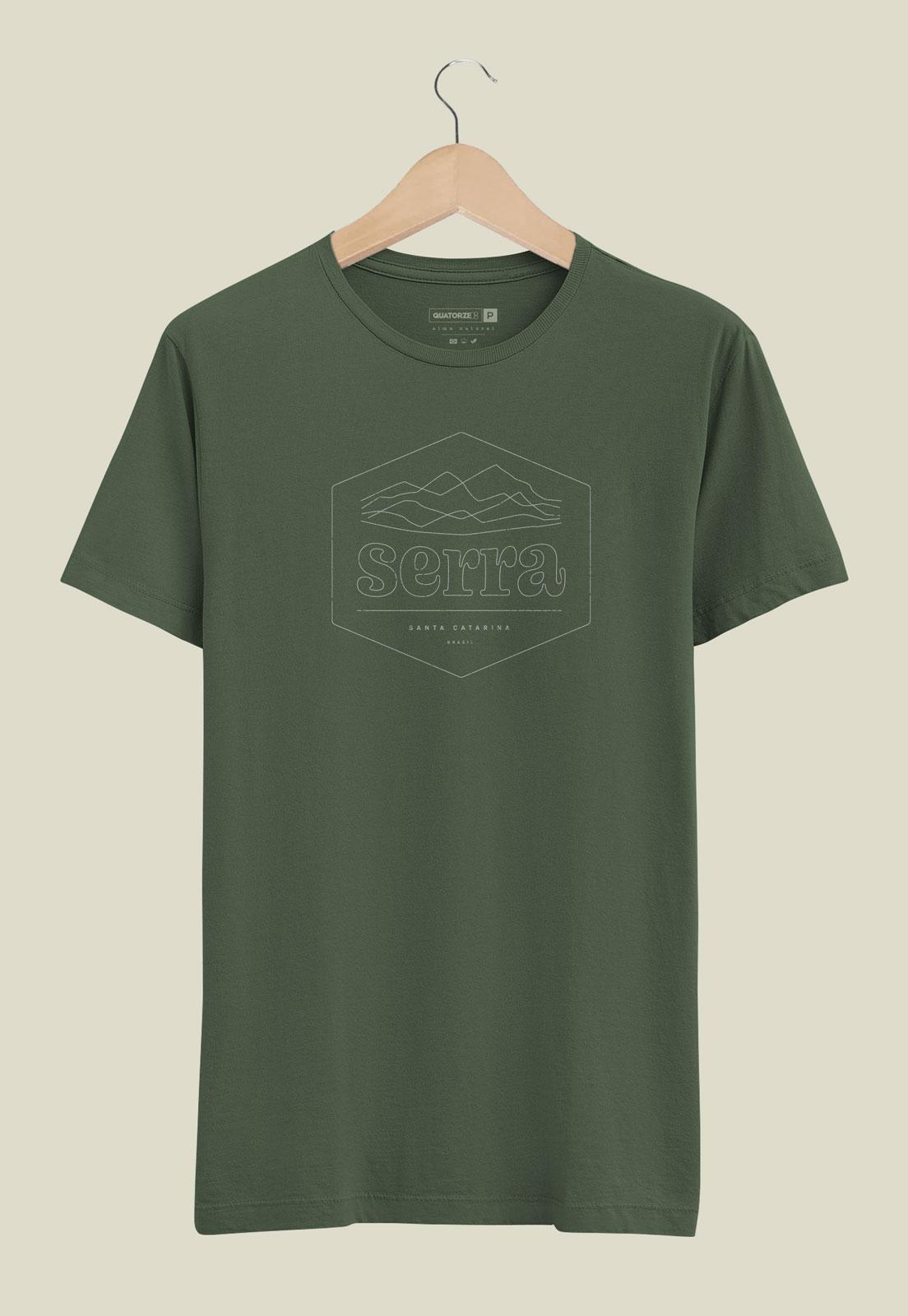 Camiseta Verde Escuro Estonada de Algodão Serra