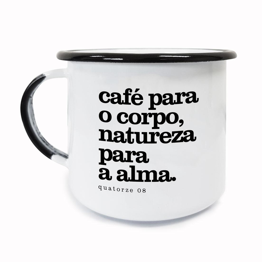 Caneca de Aço Café e Natureza Branca