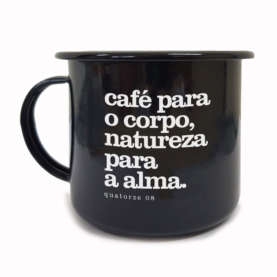 Caneca de Aço Café e Natureza Preta