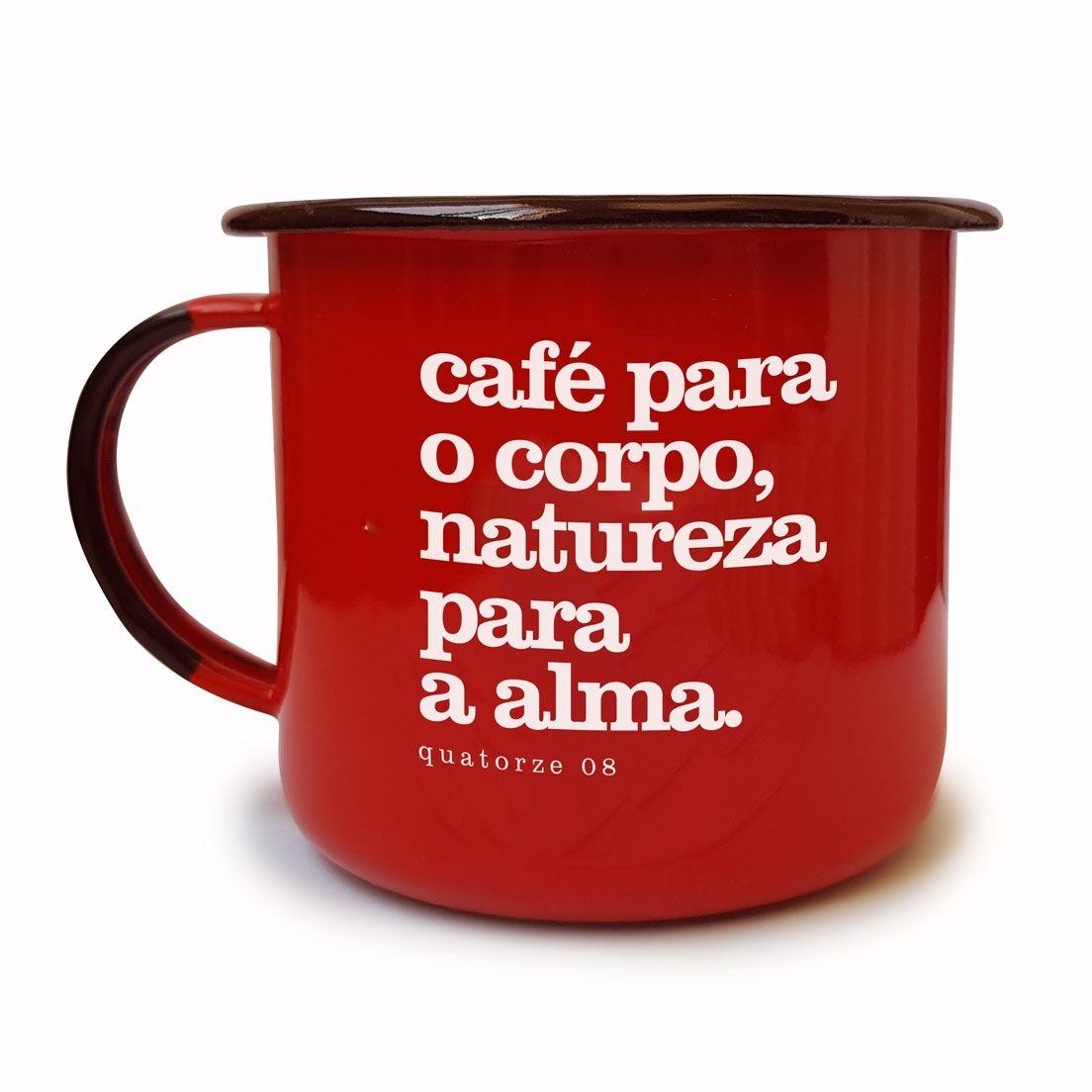 Caneca de Aço Café e Natureza Vermelha
