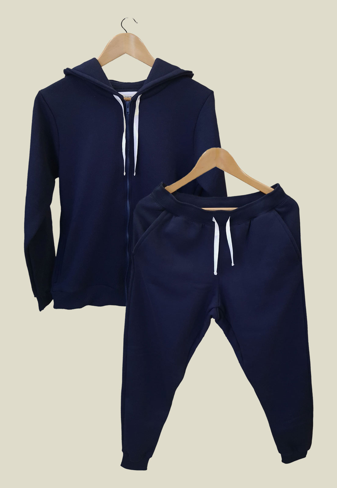 Conjunto Feminino de Moletom Azul Escuro (Calça + Jaqueta Com Capuz)