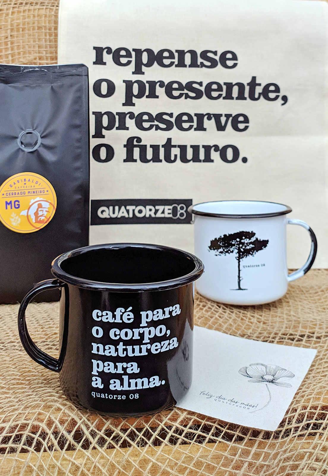 Presente dia das mães com café e DUAS canecas de aço