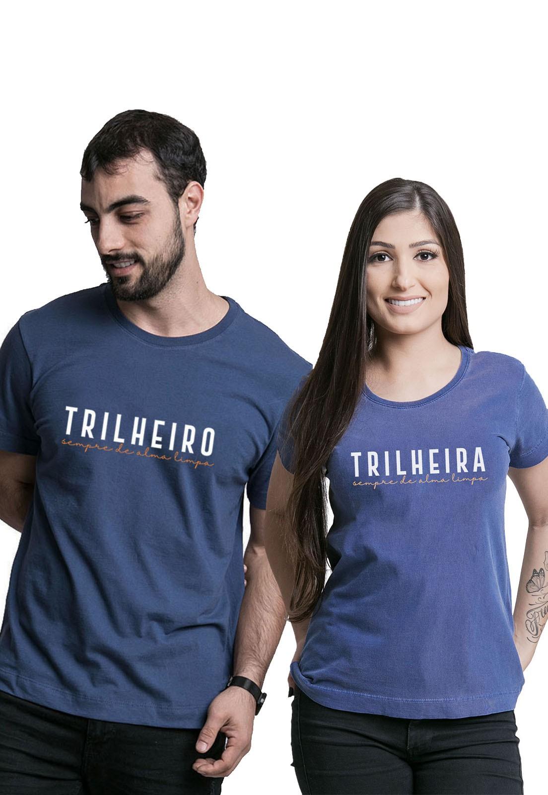 Kit Camisetas Trilheiros Azul Médio Estonado e Azul Marinho