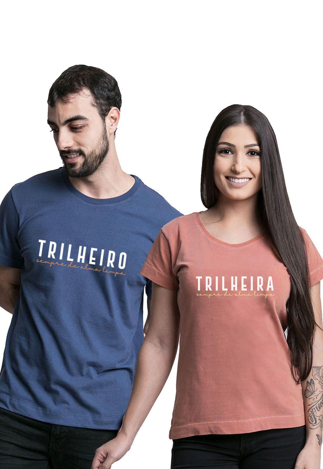 Kit Camisetas Trilheiros Laranja e Azul Marinho