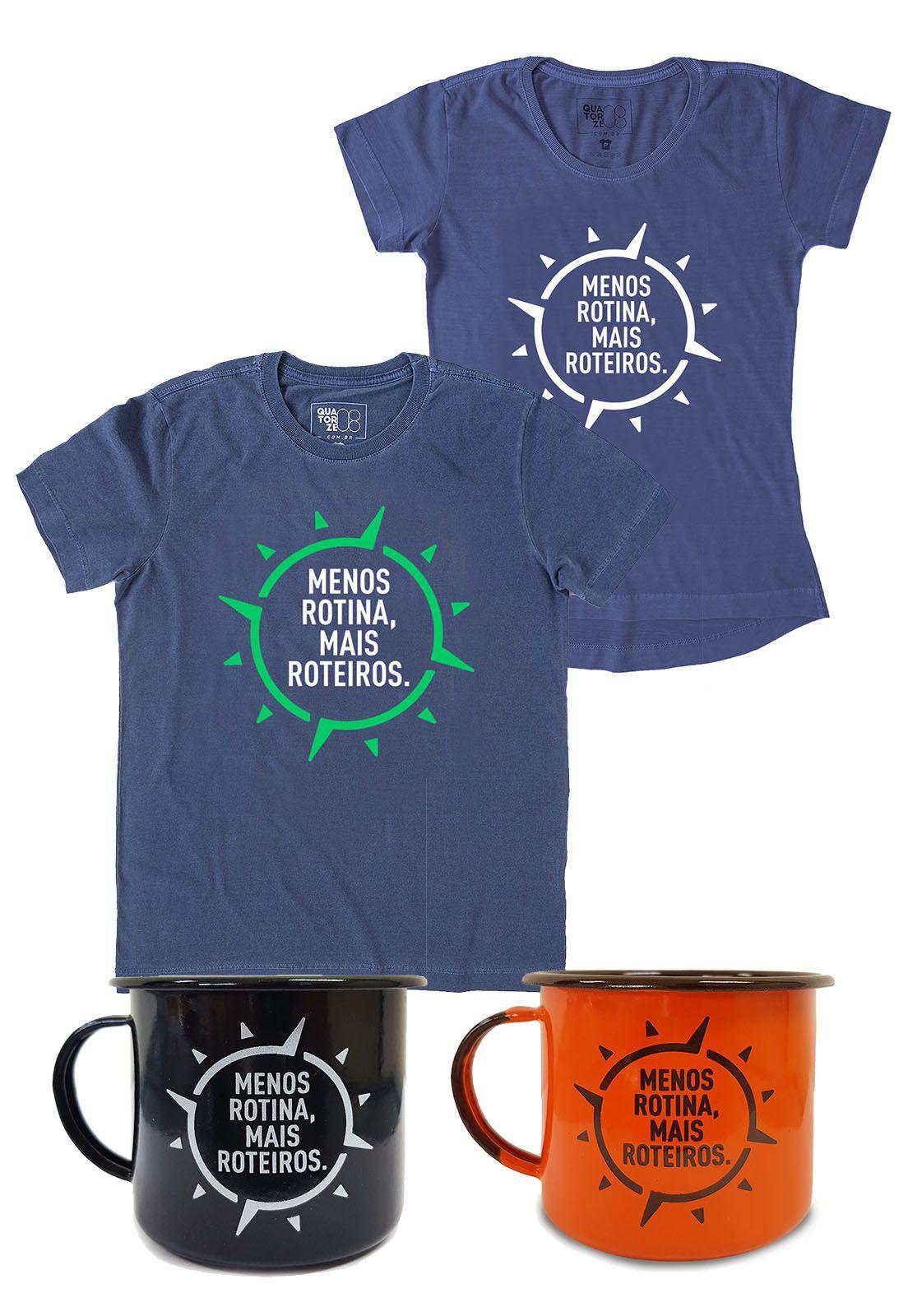 Kit Camisetas e Canecas Menos Rotina, Mais Roteiros 1