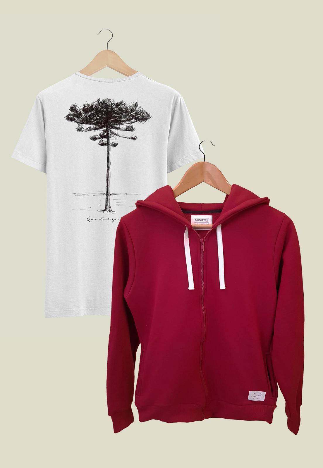 Caixa Presente Masculino Jaqueta Bordô + Camiseta Araucária Off-White