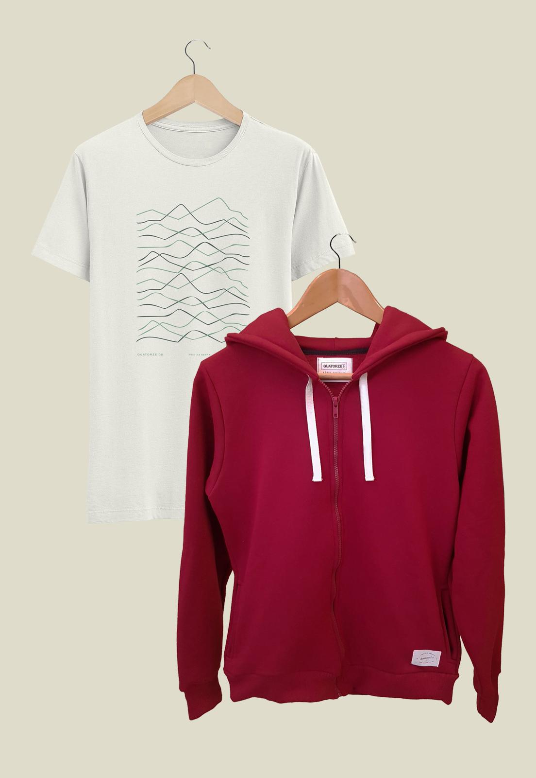 Caixa Presente Masculino Jaqueta Bordô + Camiseta Relevos Off-White