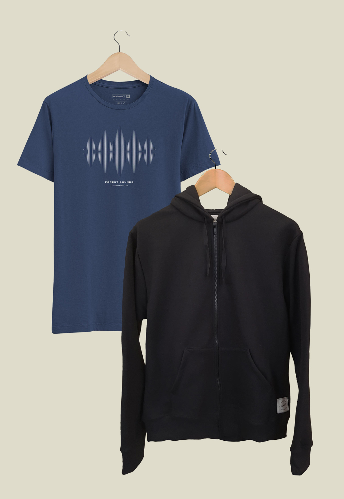 Caixa Presente Masculino Jaqueta Preta + Camiseta Forest Azul Estonada