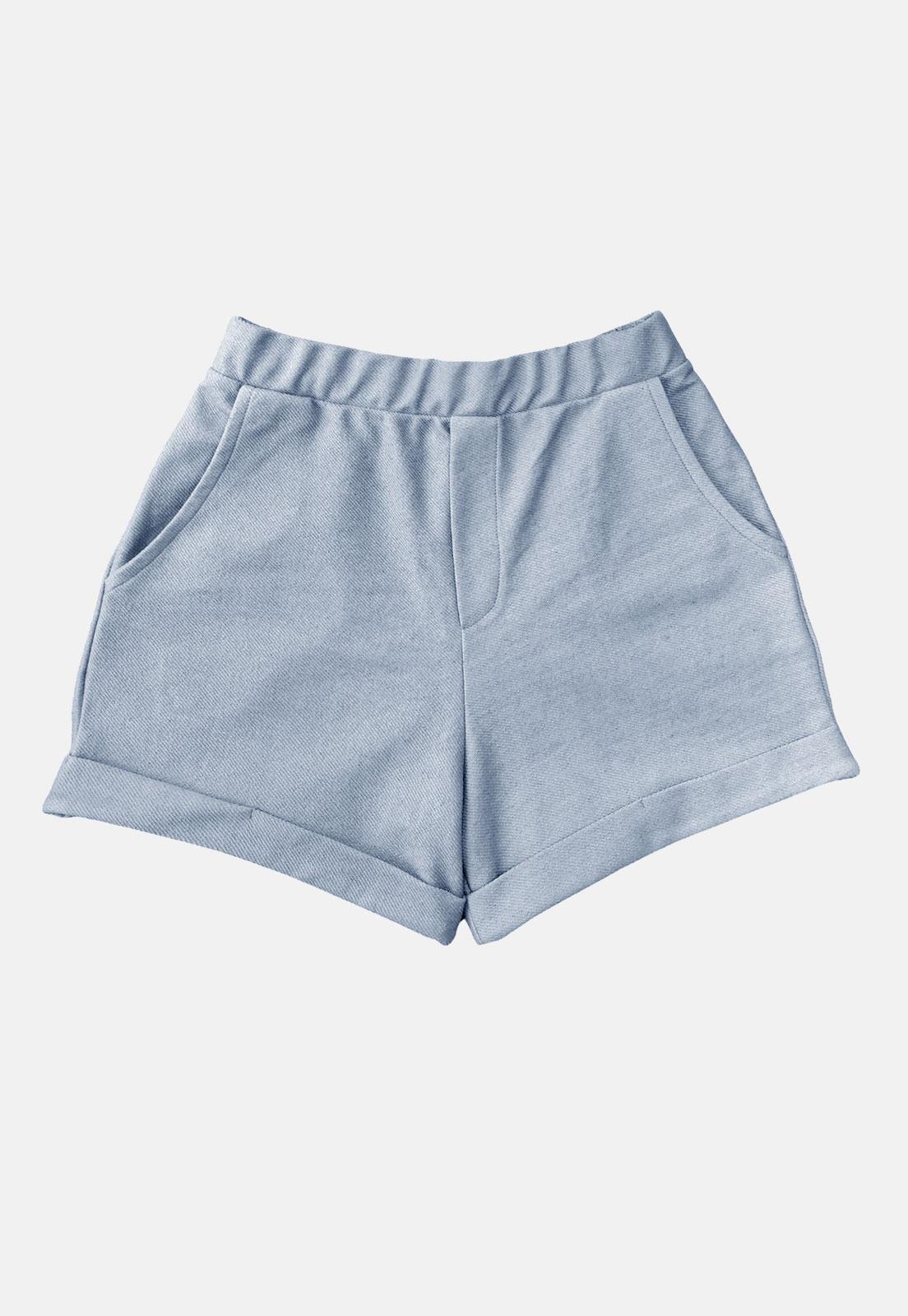Shorts Feminino Azul Claro Tingimento Natural