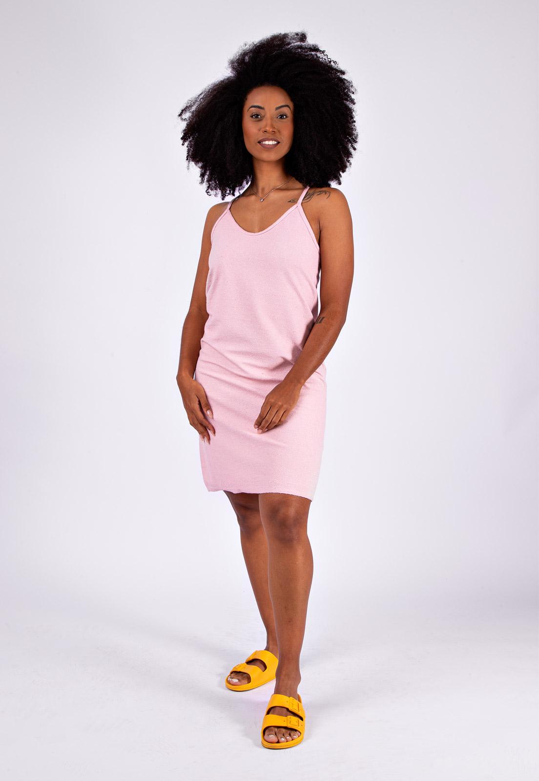 Vestido de Alcinha Malha Reciclada Rosa